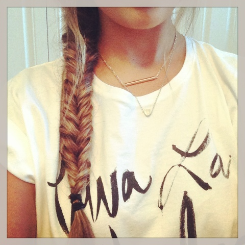 Fishtail braid and Sincerely Jules Tee