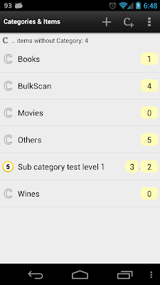 Barcode Express - Categories and Inventory items