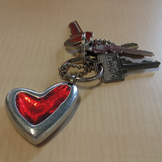 Heart-shaped keyring adornment (submitted by Darren L.)