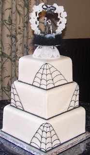Three tier square black and white spider web and corpse Bride custoom wedding cake design