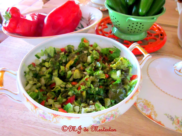 Elegant Vegetable Salad in Green Herb Vinaigrette
