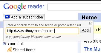 Google Reader Button