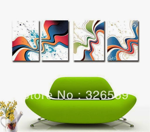 high quality 4 panels abstract giclee printing wall art