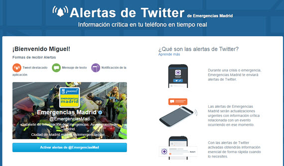 Emergencias Madrid en Twitter Alerts