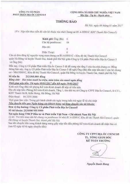 Thông Báo Đóng Tiền Đợt 2 Chung Cư B1.4 HH01 Thanh Hà