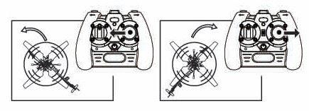 Движение / поворот радиоуправляемого вертолета влево и вправо