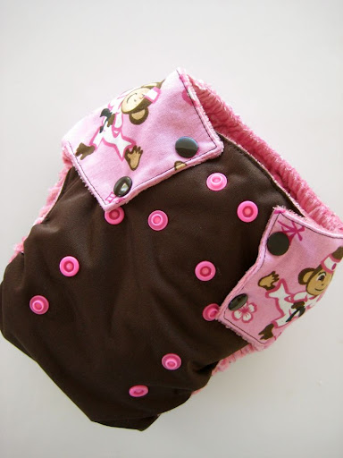 Kung Foo Monkey (Pink) OS diaper