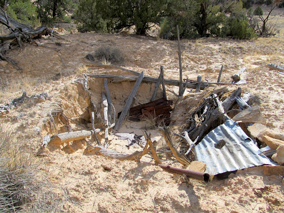 Collapsed dugout cabin in McCarty Canyon