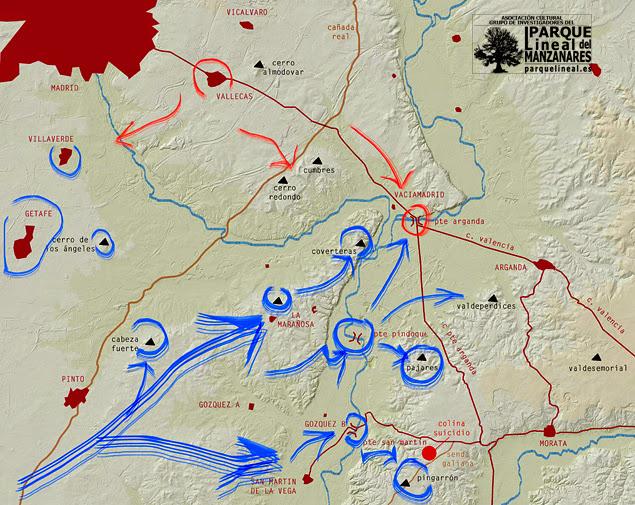 Primera fase de la Batalla del Jarama. Avance rebelde.