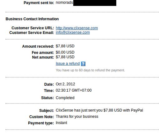 Payout ke-5 dari Clixsense