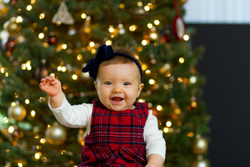 christmas card photos 8 month baby girl kids family in