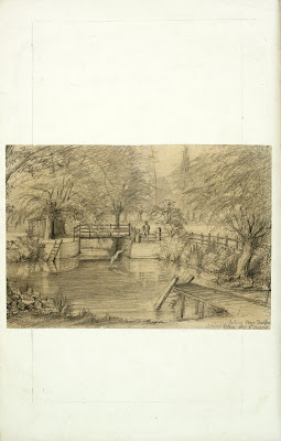 A Record of Shelford Parva by Fanny Wale - Back of page 8 fo. 10v, back of page 8: A pencil sketch of Bathing Place by Colonel R.G. Wale, 6 August 1887.  [not in photographic copy]