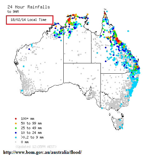 18th feb 2013 rainfall totals Australia