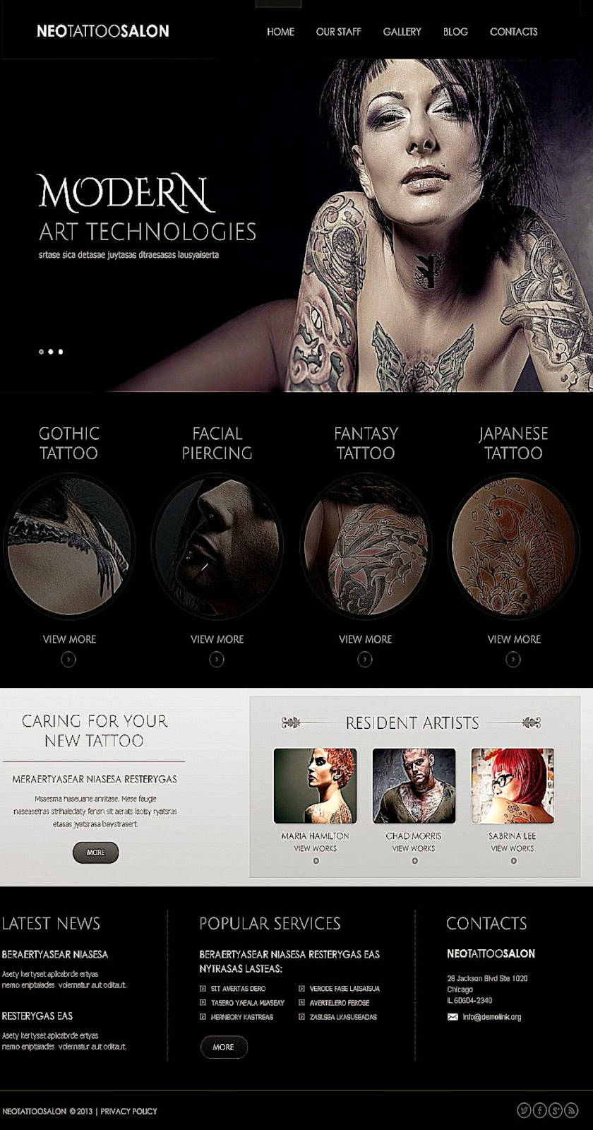 Website Template 43569 Neo Tattoo Salon Custom Website Template