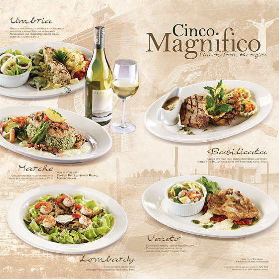 Italianni's Cinco Magnifico, Flavors From The Regions of Italy