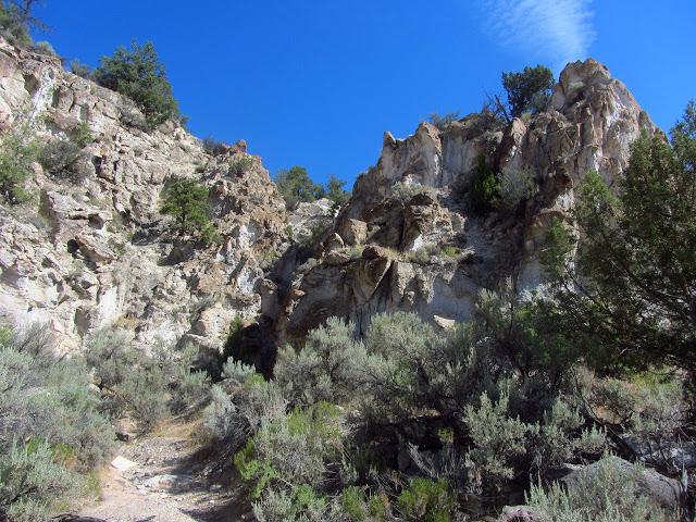 tiny slot canyon in very white stone