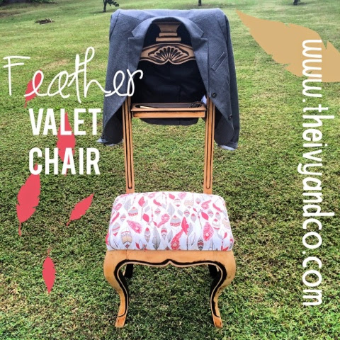 Feather print upholstery Valet Chair, bedroom organization, catch-all, hanger, coat rack, furniture re-do