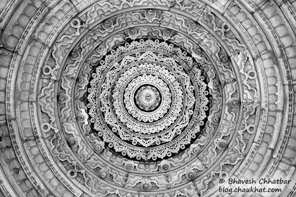 Carvings on the inner side of a dome of the Ranakpur Jain Temple