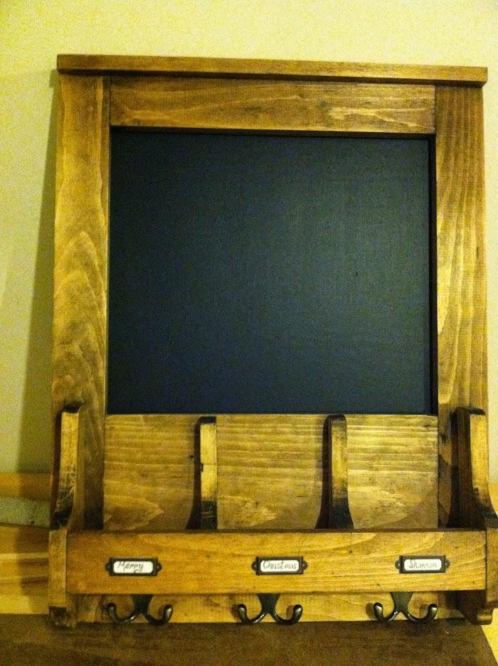 DIY Chalkboard mail organizer
