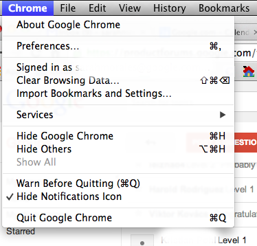 how to bring menu bar in google chrome