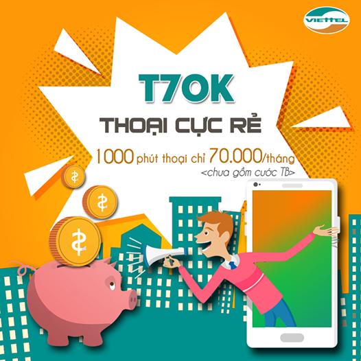 Miễn phí 500 phút Gọi Nội mạng, 150 SMS Gói T70K Viettel