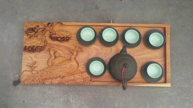 Khay trà công tùng gỗ gõ đỏ - Mẫu KT58