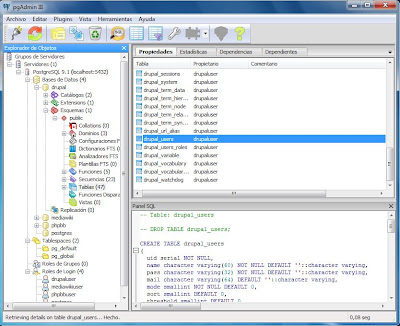 Acceso a pgAdmin III de PostgreSQL en Windows 7