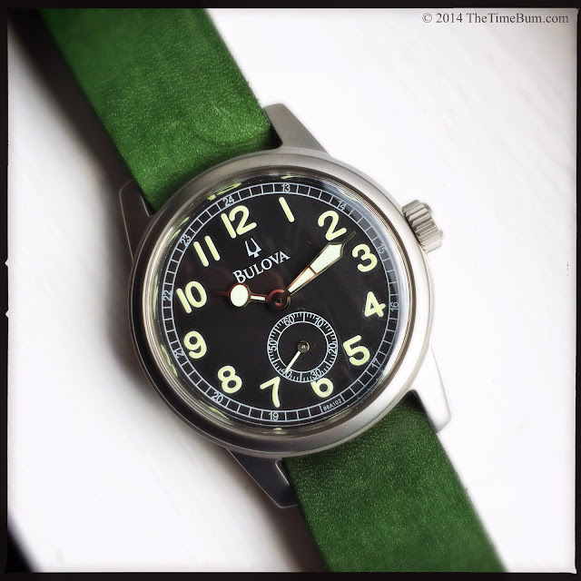 J Grant's General Store leather strap green Bulova Hack