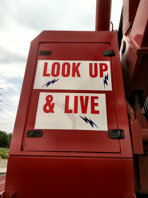 crane warning look red sign stock photo