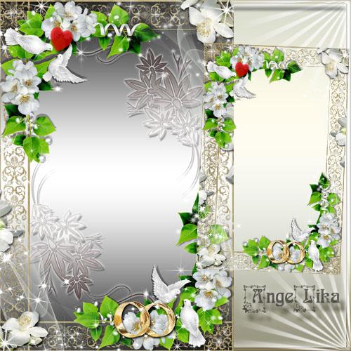 Свадебная рамка для фото - Белые цветы и голуби