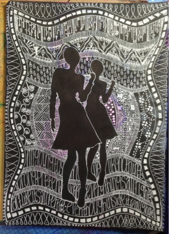 Inkidinki crafts black art journal page