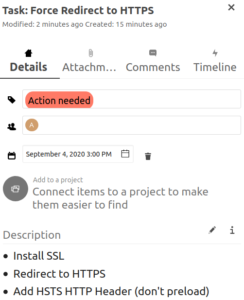 Nextcloud Card to force redirect to HTTPS