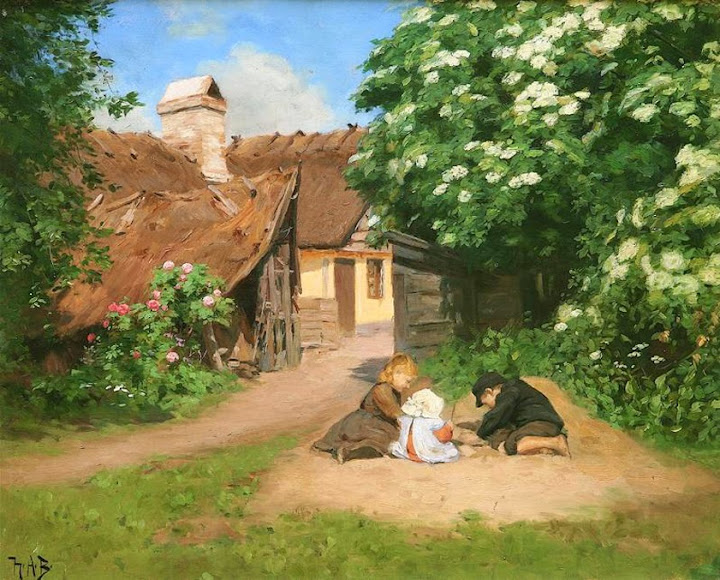 Hans Anderson Brendekilde - Danish summer idyll with old folks talking at the white country house, 1894