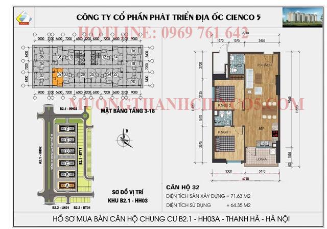 Sơ đồ chi tiết căn hộ chung cư b2.1 HH03A căn 32