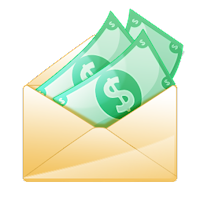 Animated money in envelope