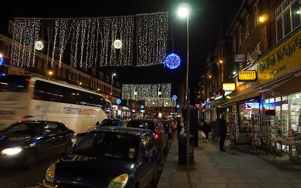 golders Green with Christmas Lights.