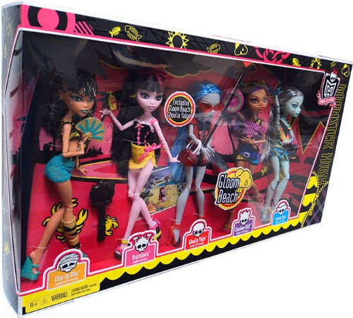Gloom Beach Wave 2: pack de 5 chicas: Frankie, Cleo, Draculaura, Clawdeen + Ghoulia