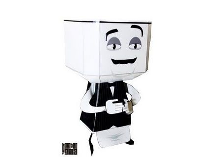Cappuccino Waiter Paper Toy