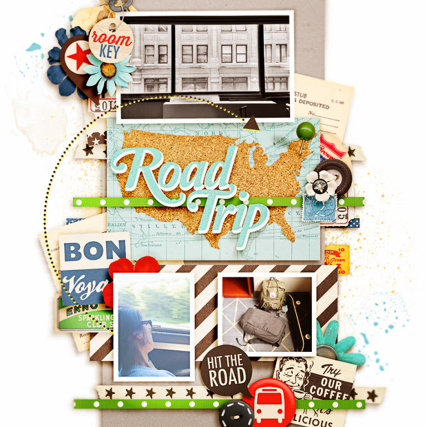Road Trip // 12x12 // Cindy's Layered Templates Set #151 by Cindy Schneider // Once Upon a Summer - 1. Traveling by Kristin Cronin-Barrow