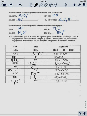 Joey Reitz Chemistry: Brønsted-Lowry acid base worksheet