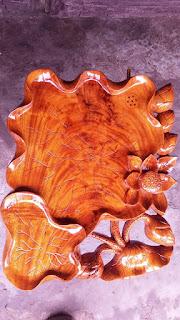 Khay trà lá sen gỗ hương mẫu KT16-1