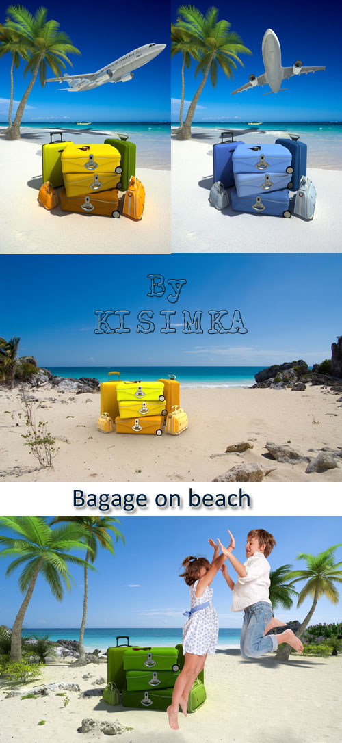 Stock Photo: Bagage on beach