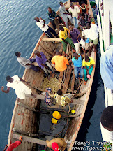 Passengers leaving the boat
