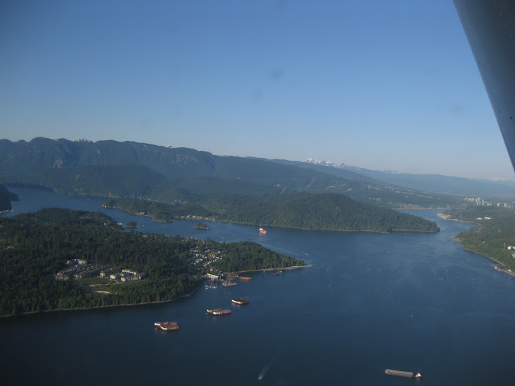 View onto the Burrard Inlet from a Harbour Air floatplane, Vancouver, BC