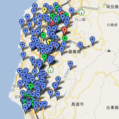 中油直營站地圖(雲嘉南)
