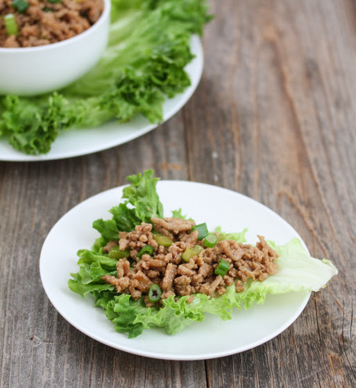 photo of a lettuce wrap on a plate
