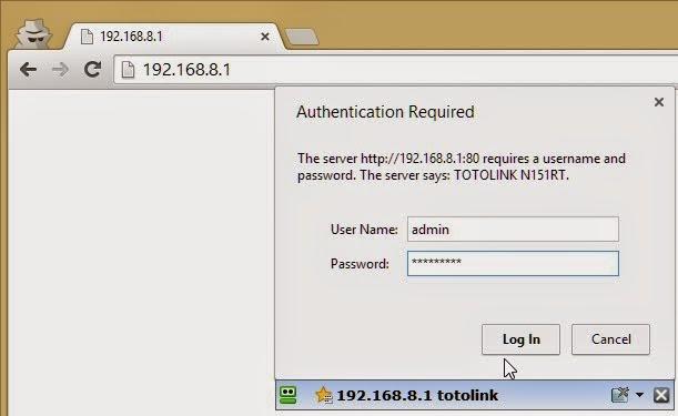 Giao diện đăng nhập vô modem
