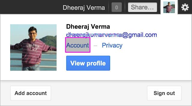Choose Accounts, 2-Step Verification