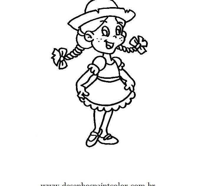 desenho de menina com vestes de festa junina desenho infantil de