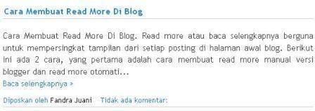 membuat baca selengkapnya versi blogger